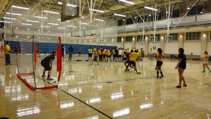 Yale's first-ever IM indoor soccer tournament kicked off on February 7, here TC plays PC in an exciting matchup.